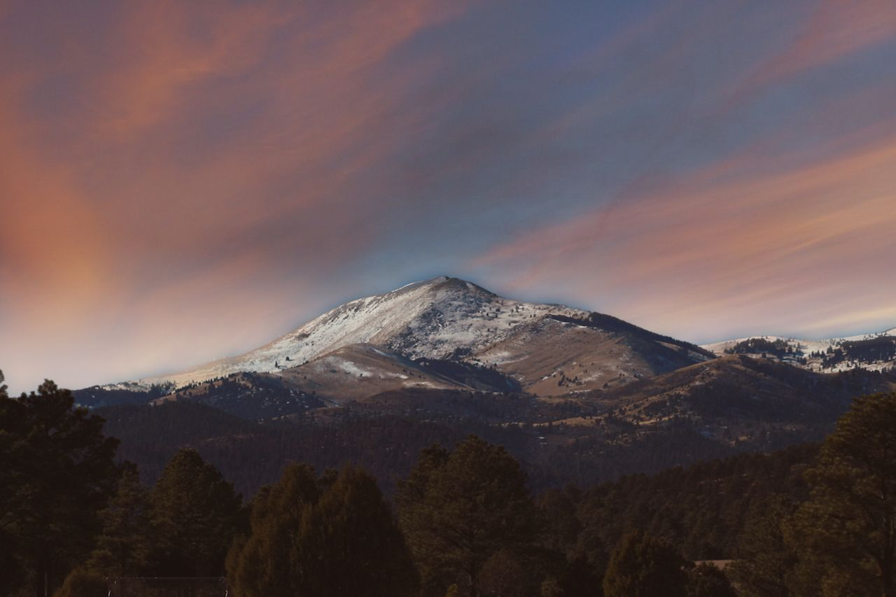 Sunset over Sierra Blanca in New Mexico ruidoso