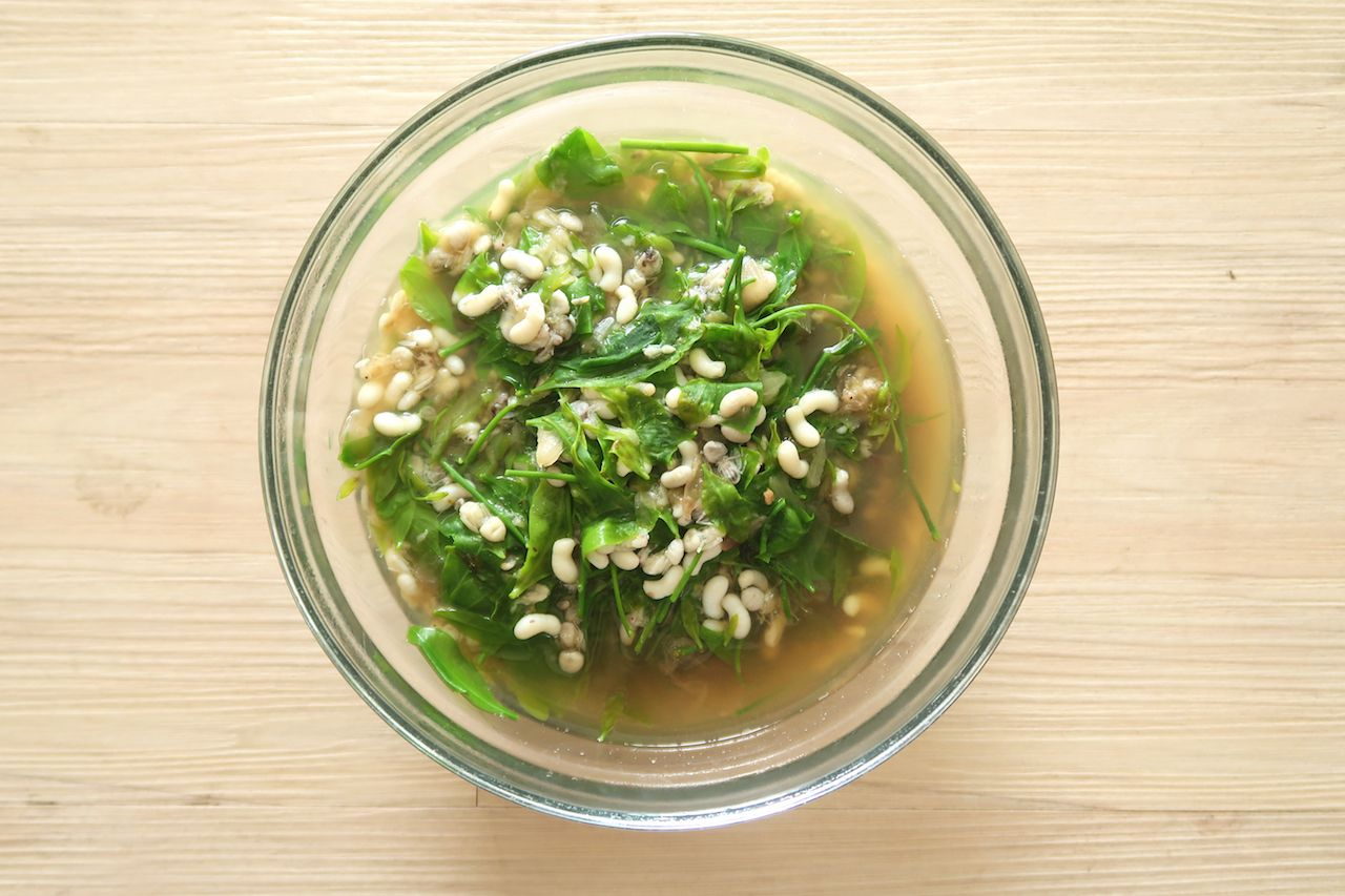 Sweet Vegetable Soup with Ant Eggs Thai Food