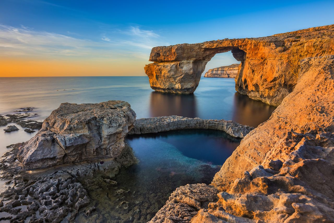 The beautiful Azure Window, a natural arch and famous landmark on the island of Gozo, Malta