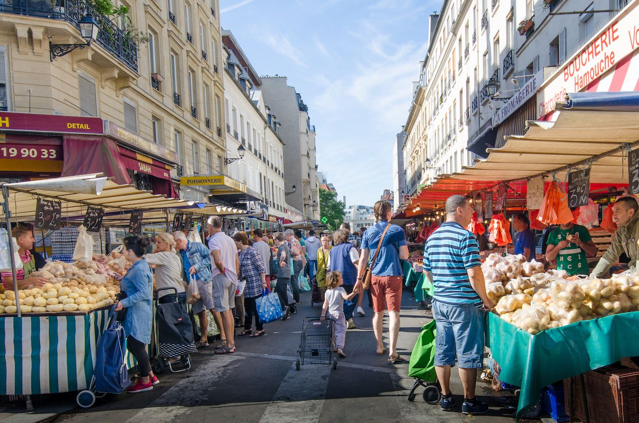 The open-air market in the Bastille district is one of the largest and busiest in the city