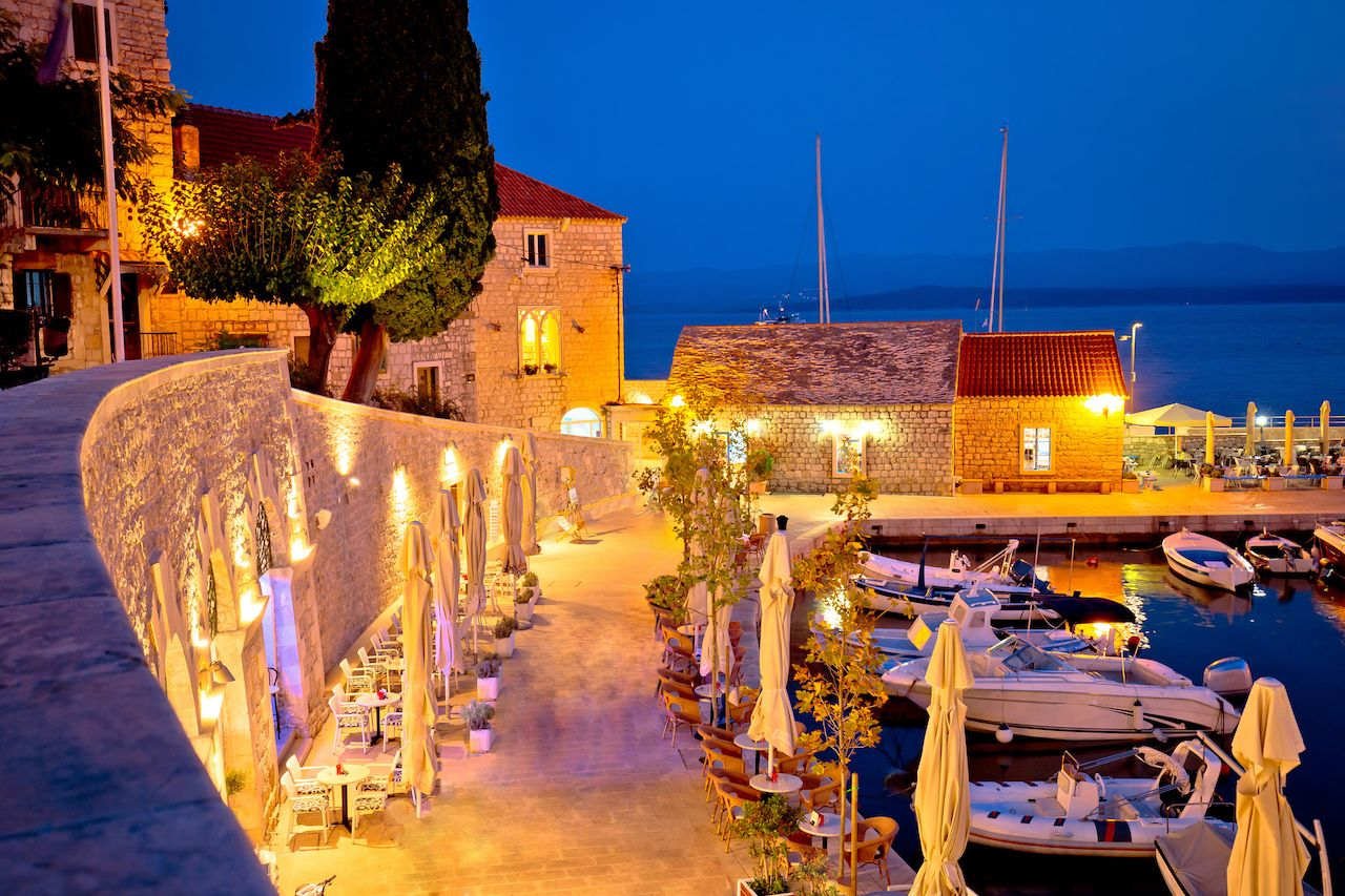 Town of Bol on Brac waterfront island at evening view, Dalmatia region of Croatia