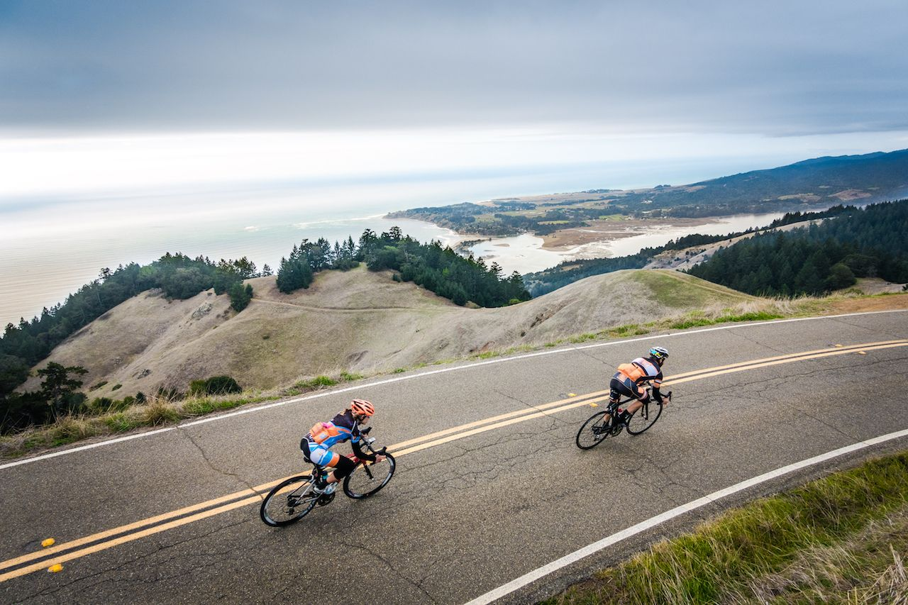 Two road bikers on Ridgecrest Blvd. above Stinson Beach, CA