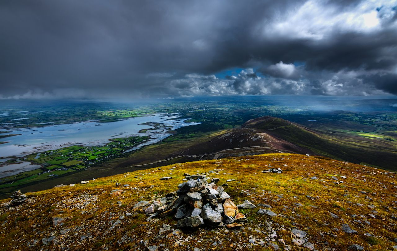 View from Croagh Patrick under stormy skies