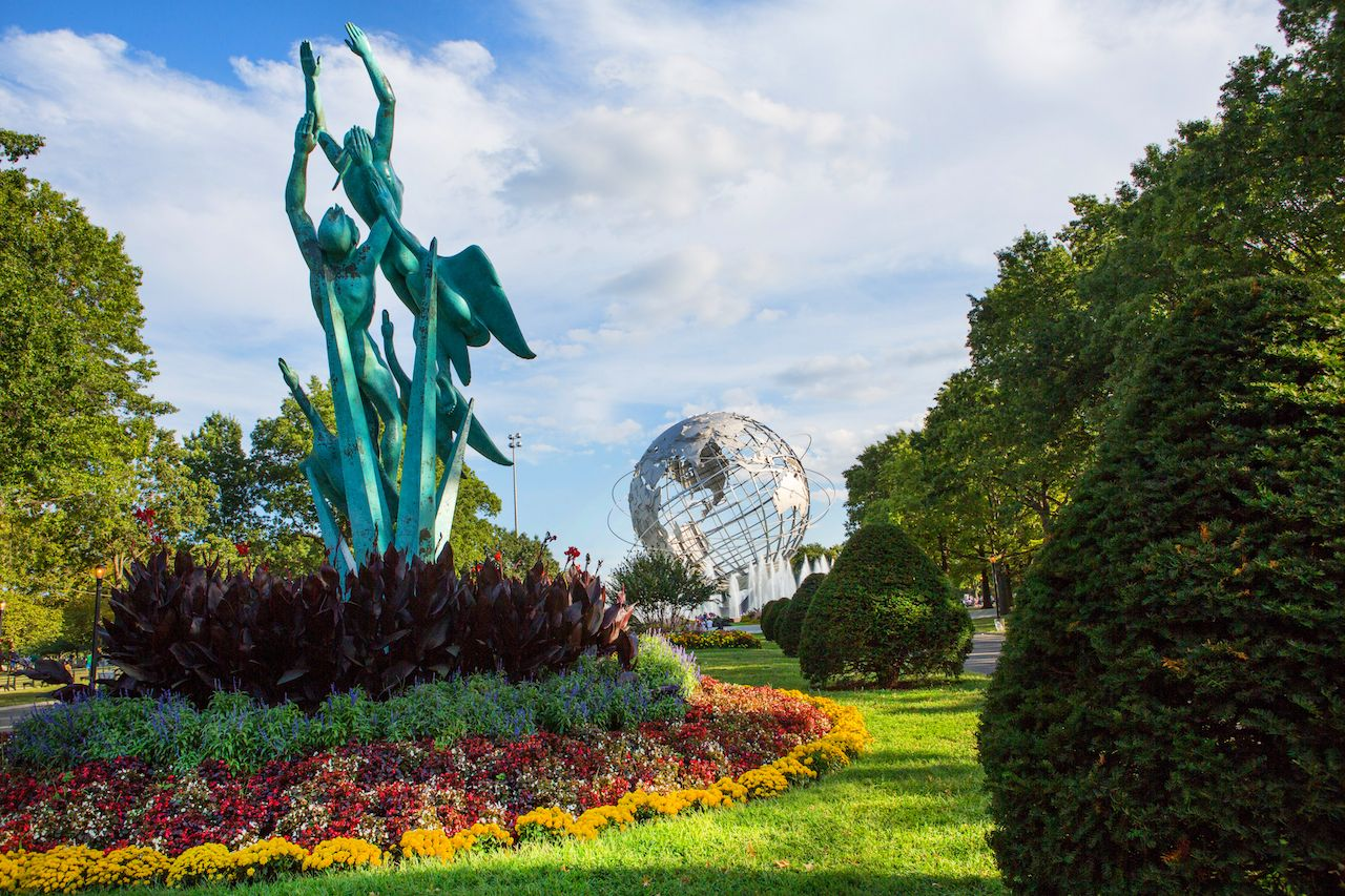 View of Flushing Meadows with sculptures in NYC