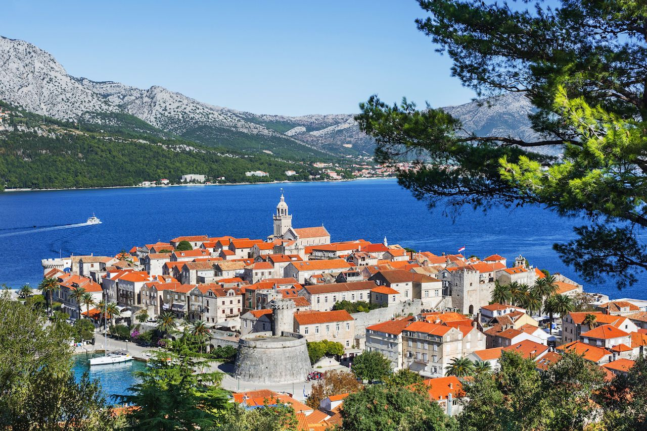 View of Korcula town, Korcula island, Dalmatia, Croatia