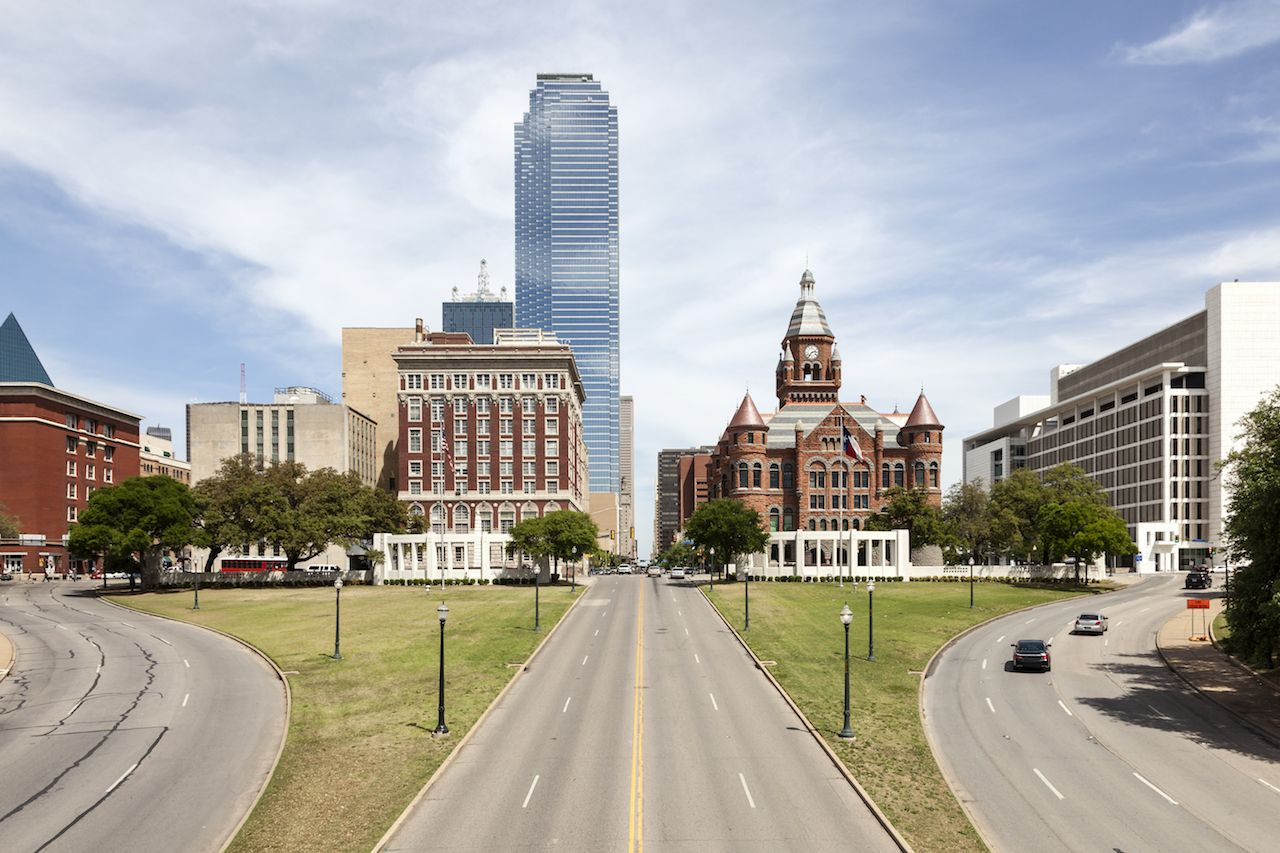 View over the Dealey Plaza in the city of Dallas