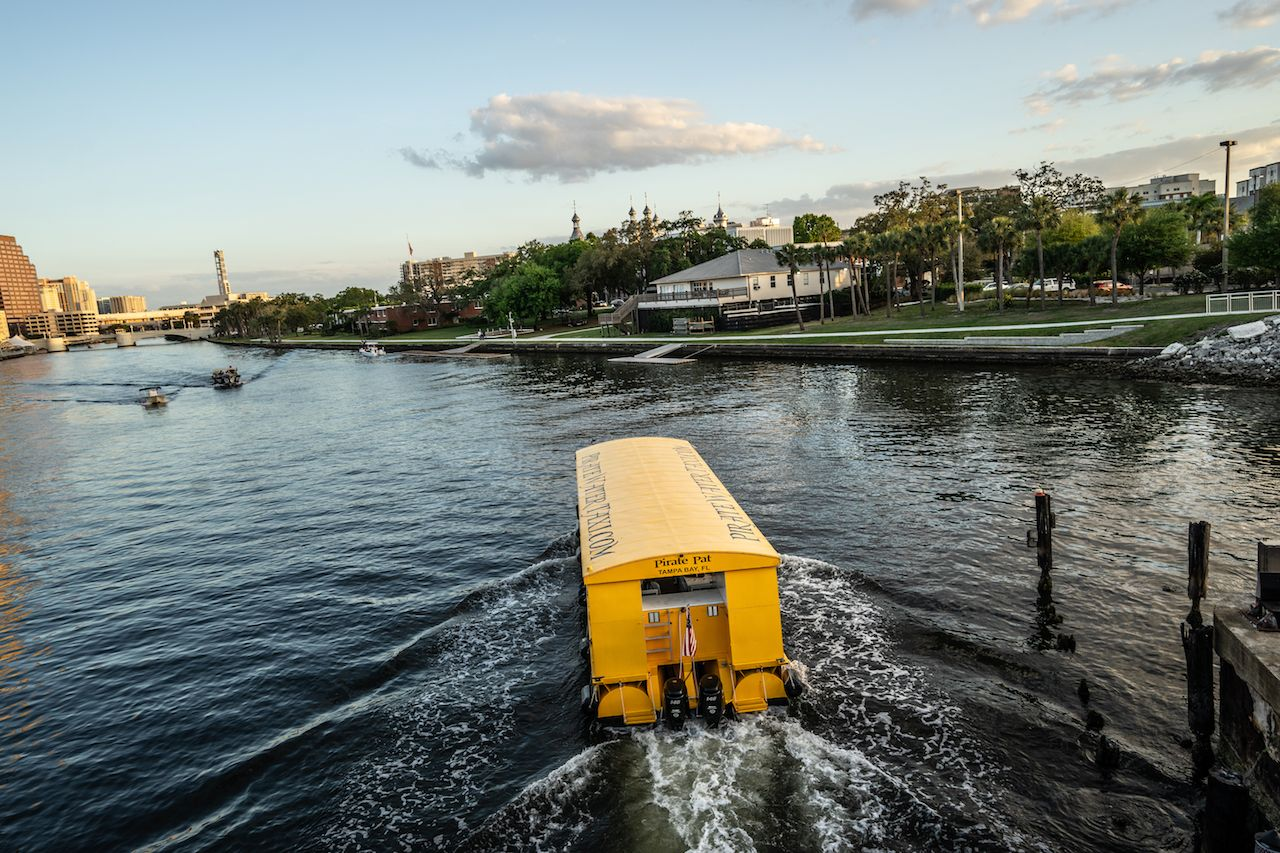 Water taxi taking a trip along the river in Tampa