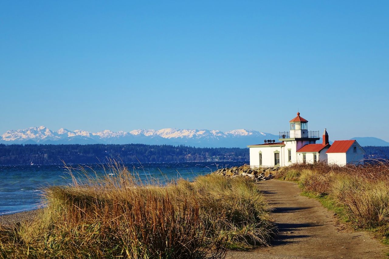 West Point Light is a lighthouse at Discovery Park in Seattle on Puget Sound's Elliott Bay