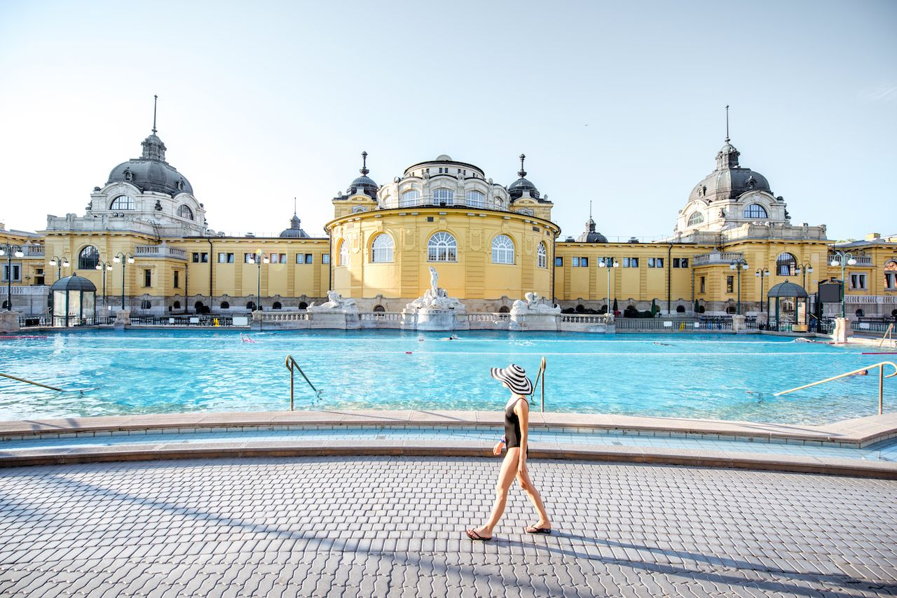 Young woman relaxing at the famous Szechenyi thermal baths