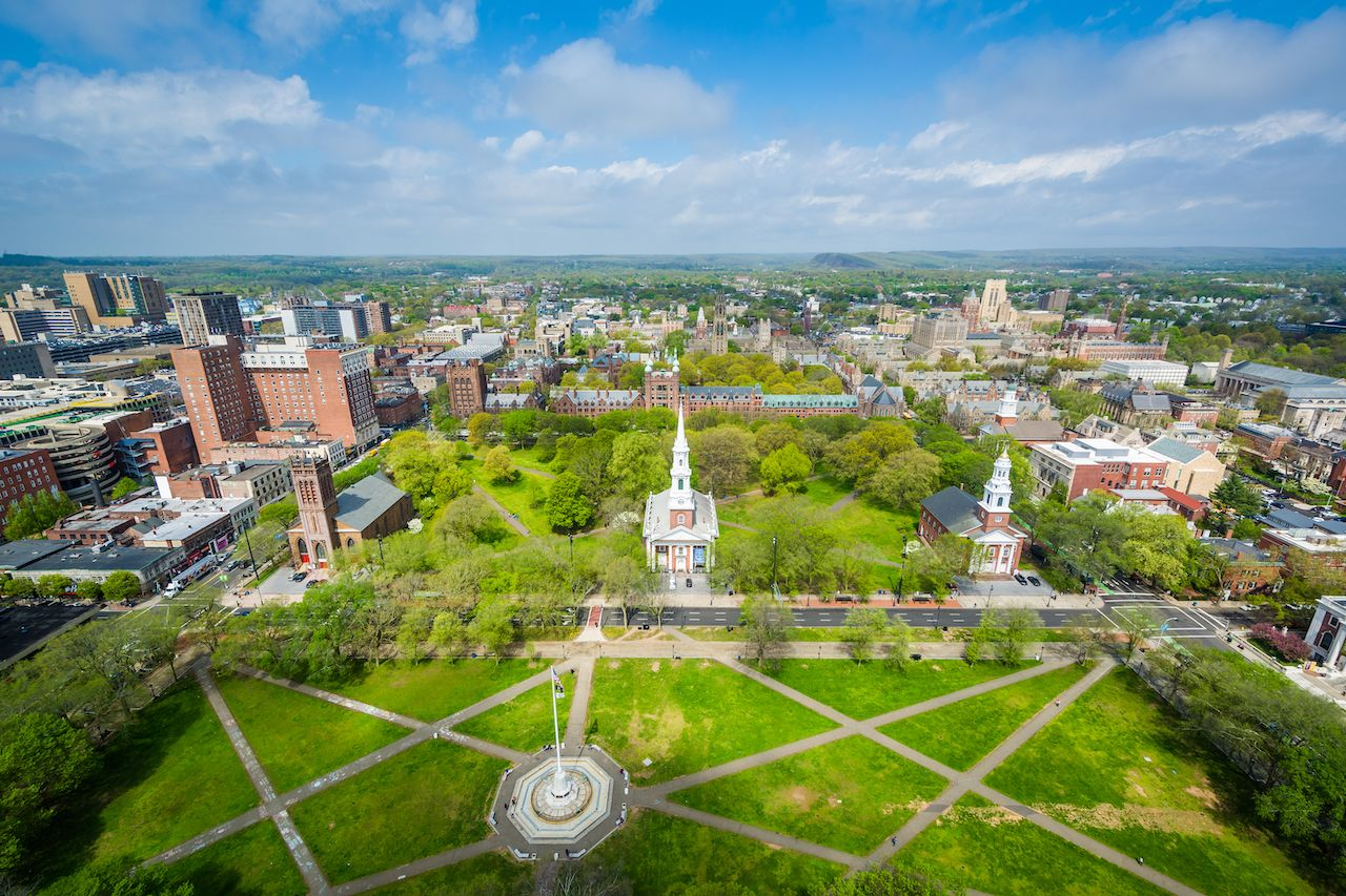 View of the New Haven Green and downtown, in New Haven, Connecticut