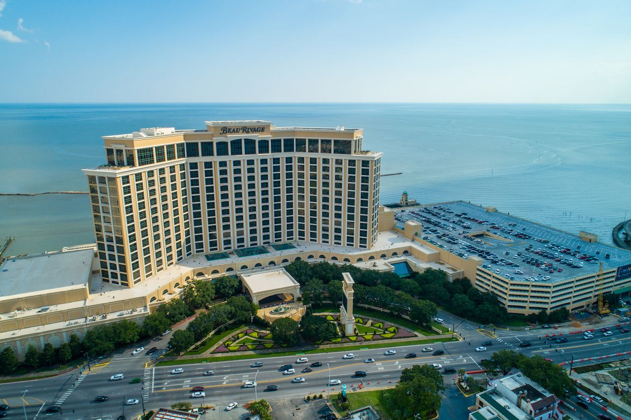 Aerial drone image of the Beau Rivage Biloxi Beach Mississippi
