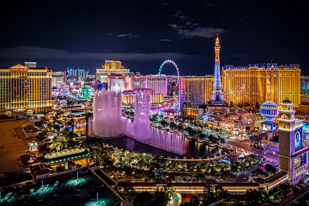 a panoramic aerial view of the Las Vegas Strip