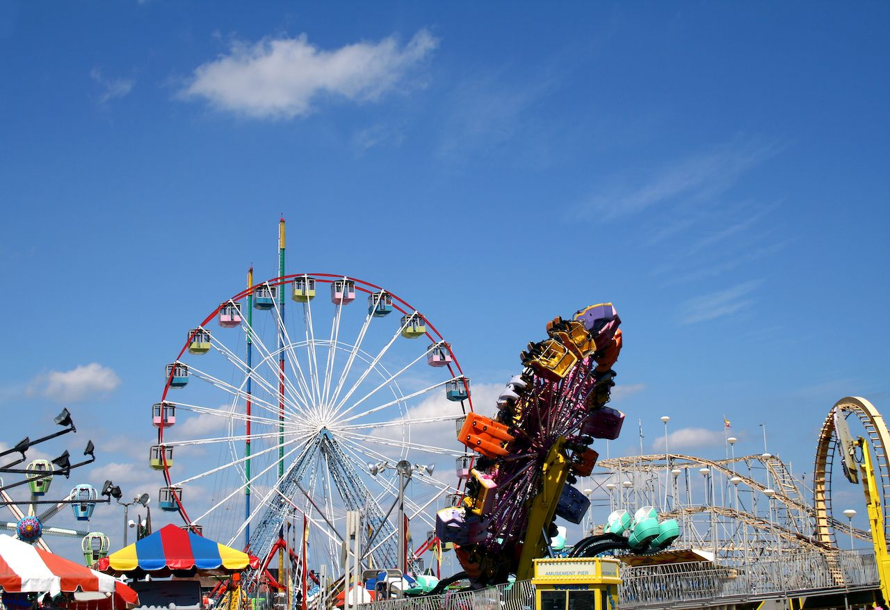 Amusement park rides on the boardwalk, Seaside, New Jersey