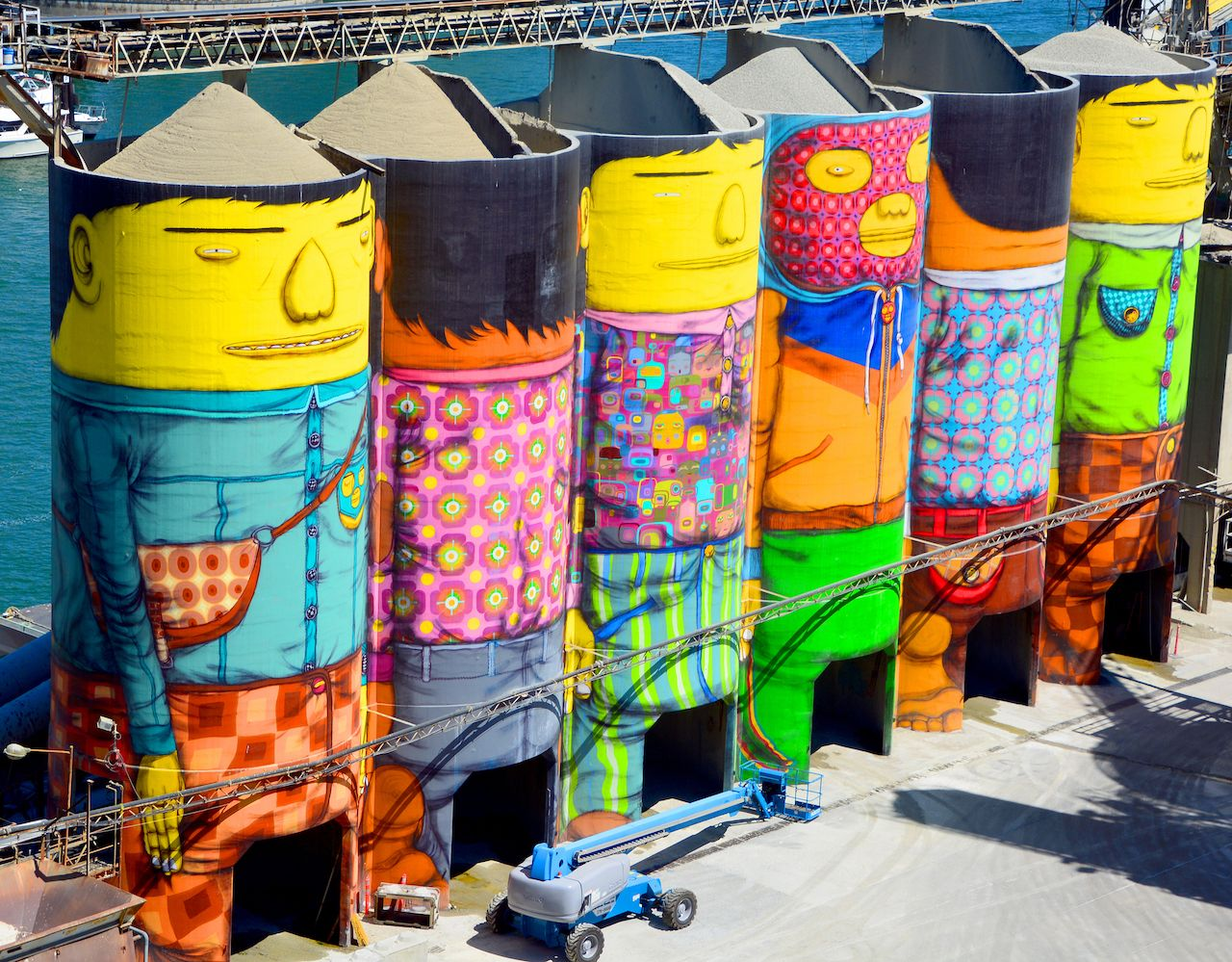 6 concrete silos transformed by two famous Brazilian street artists Os Gemeos, Vancouver