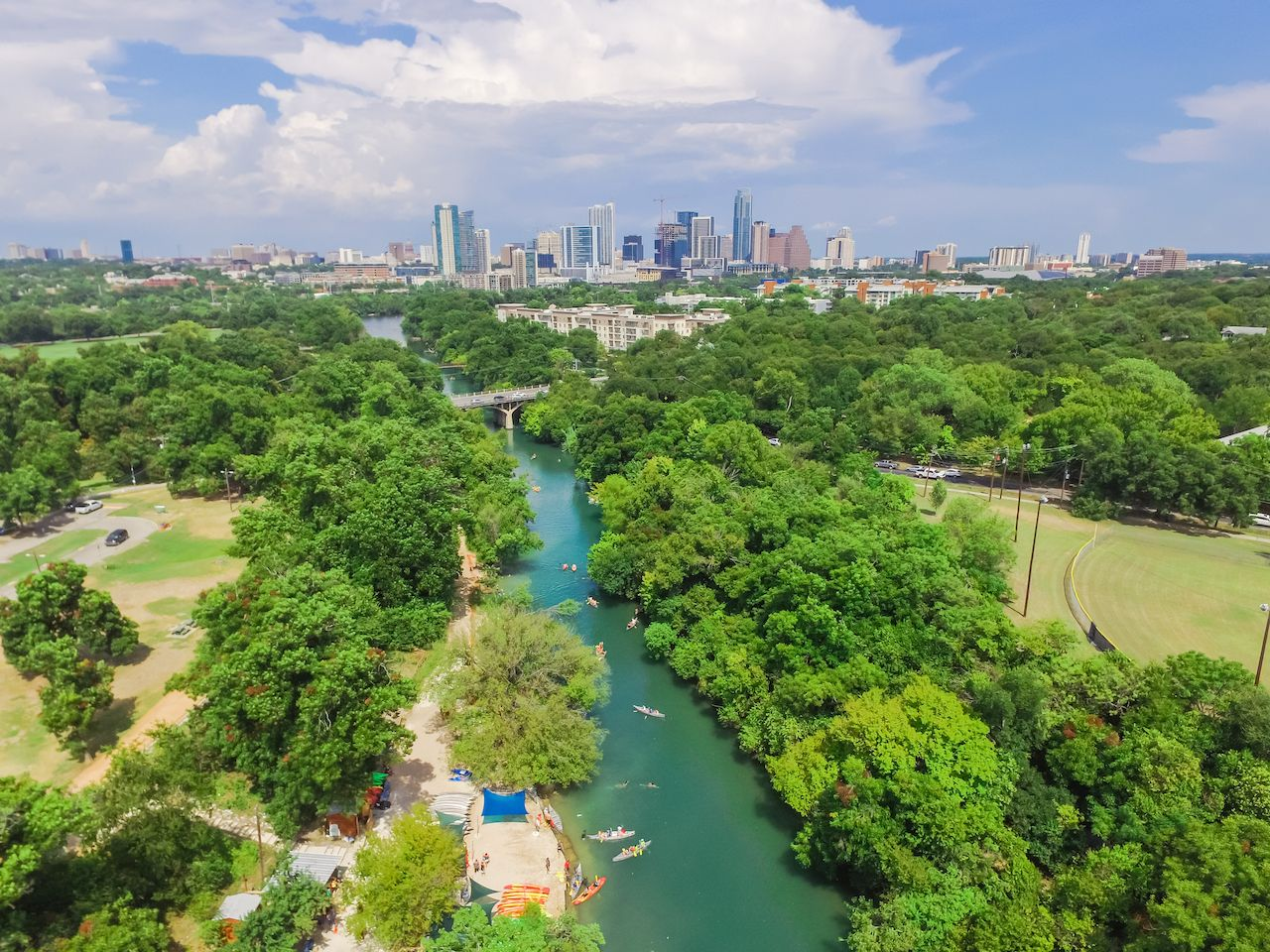 Aerial view Downtown from Barton Creek in Greenbelt at Zilker Metropolitan Park south Austin