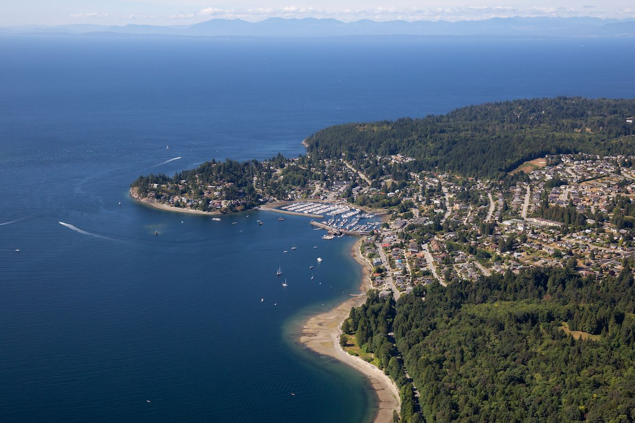 Aerial view of Gibsons, Canada