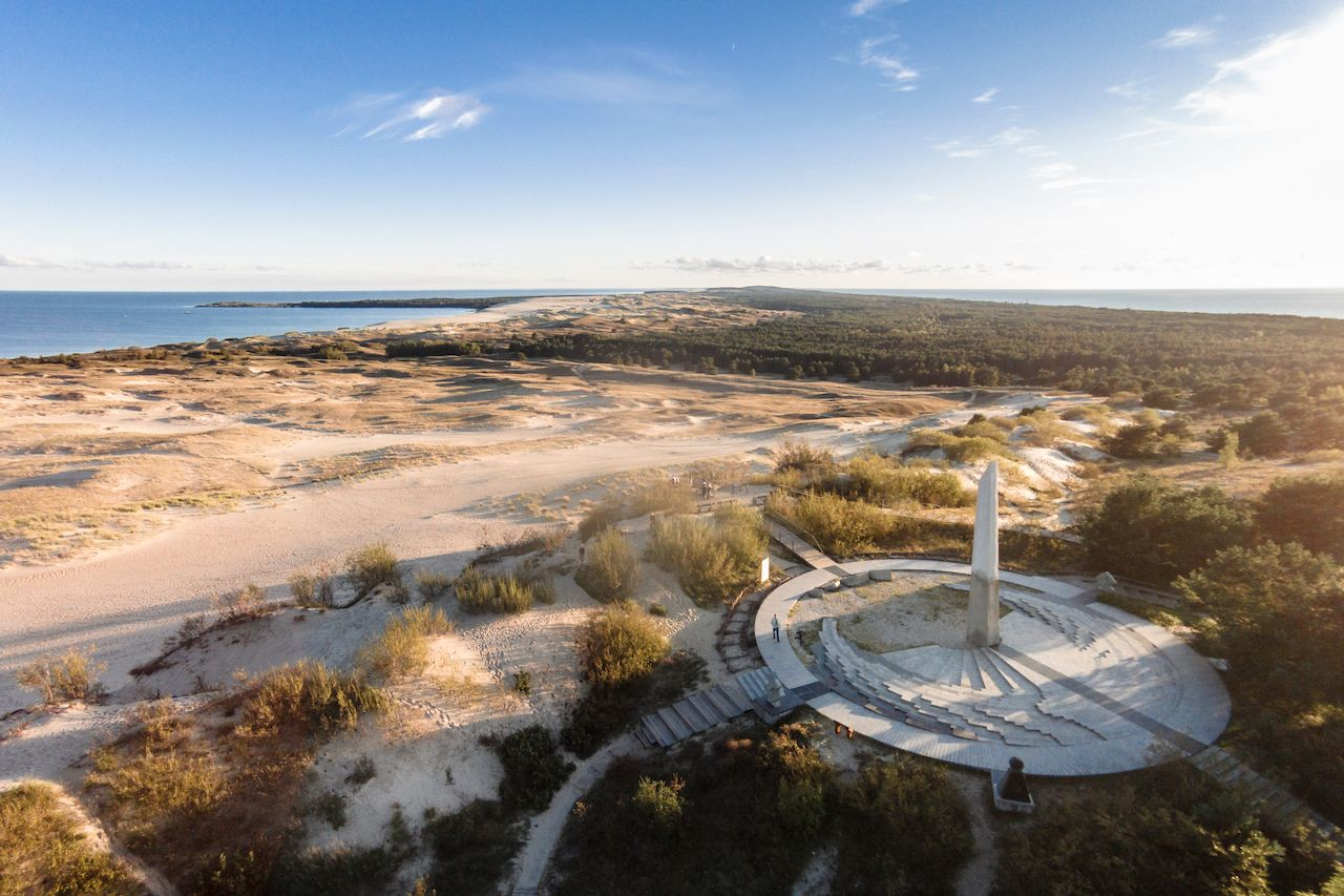 Aerial view of Parnidis dune with sun clock in Nida, Lithuania