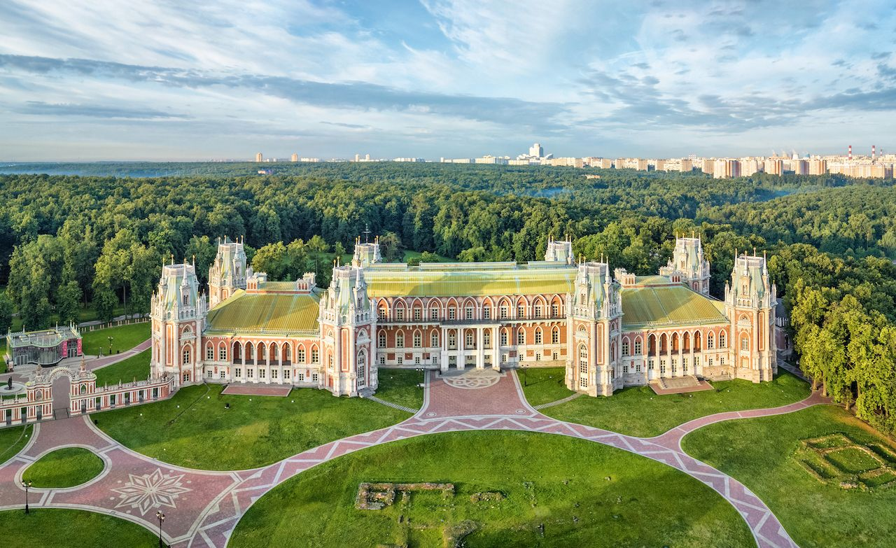 Aerial view of residence palace in Tsaritsino park, Moscow