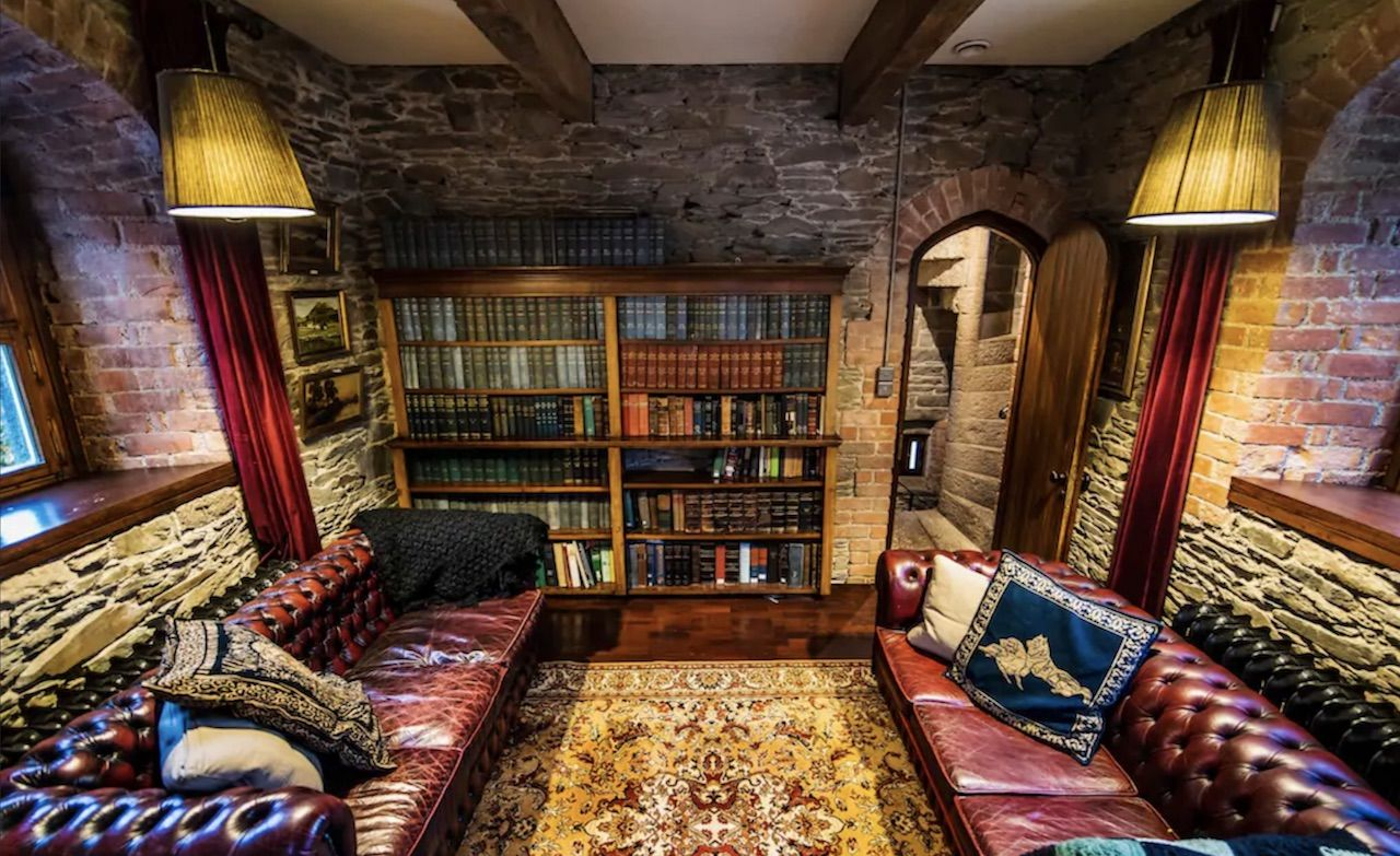 Airbnb in Ireland with a full bookshelf