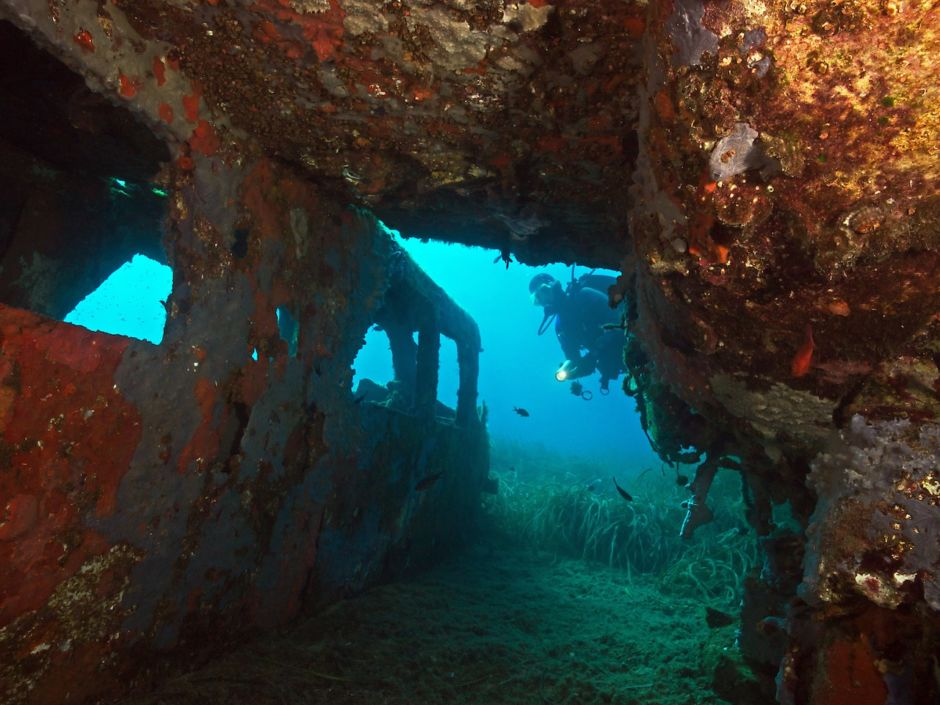 Airplane wreck Punta Nera Elba Italy