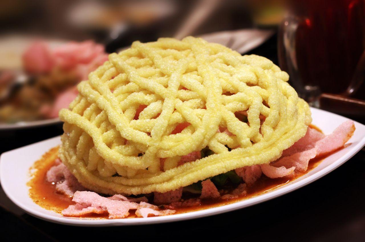 Asinan Betawi with yellow kerupuk, indonesian food