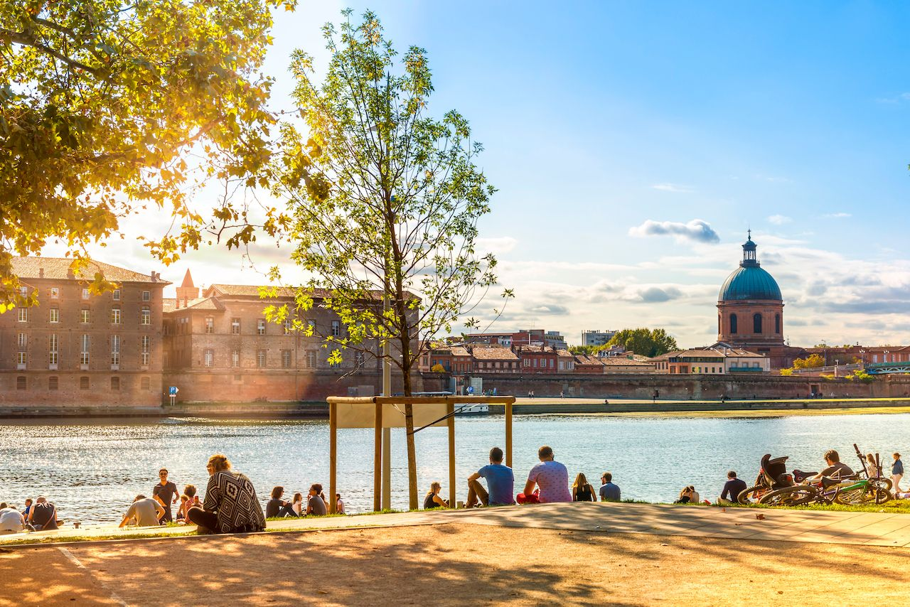 Banks of the Garonne River in Toulouse in Occitania, France
