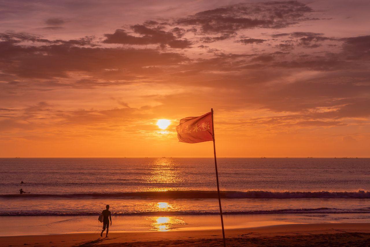 Beautiful sunrise on a Japanese beach