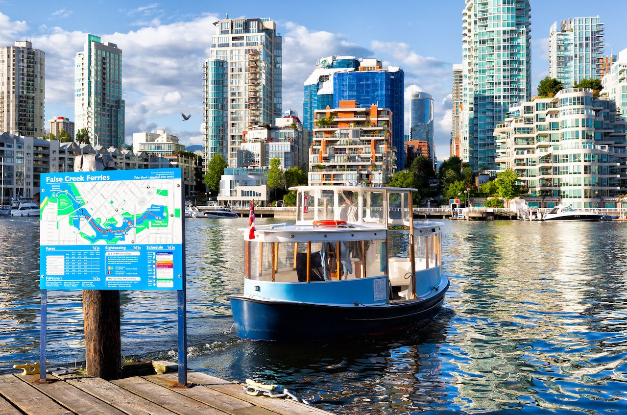 Boat to Granville Island, BC, against the cityscape