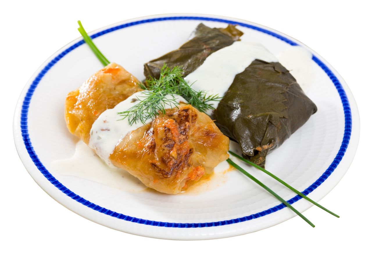 Bulgarian cabbage leaves stuffed with rice