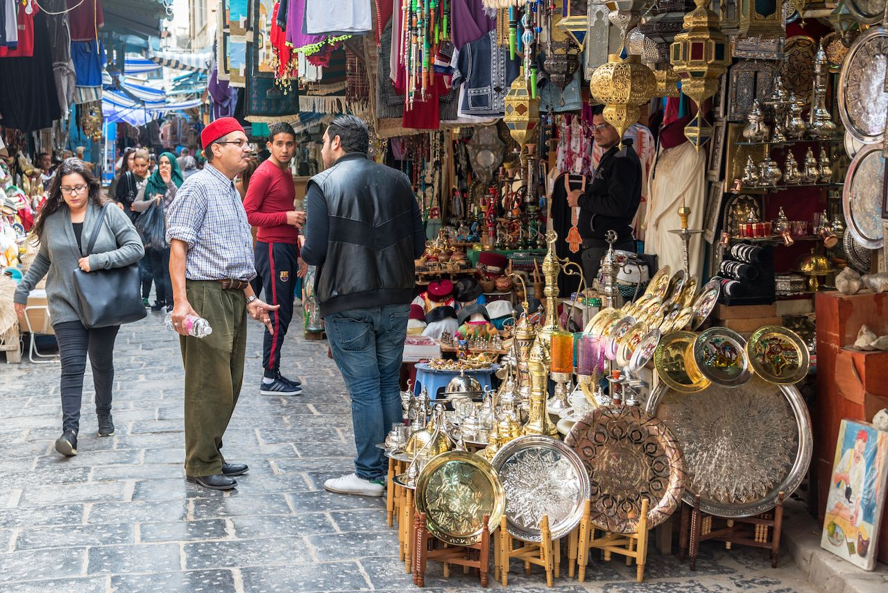 Business in a market in the medina in Tunis, Tunisia