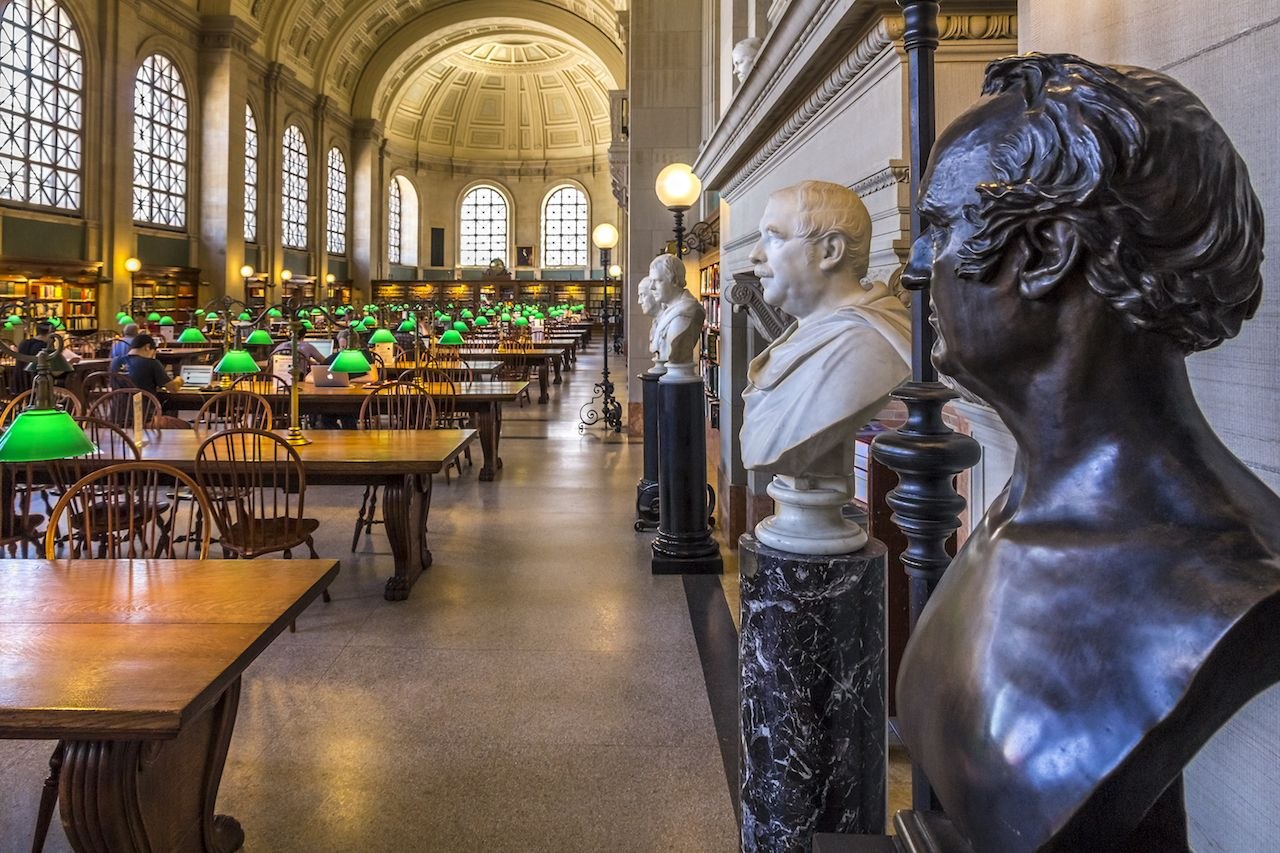 Busts and tables in the Boston Public Library