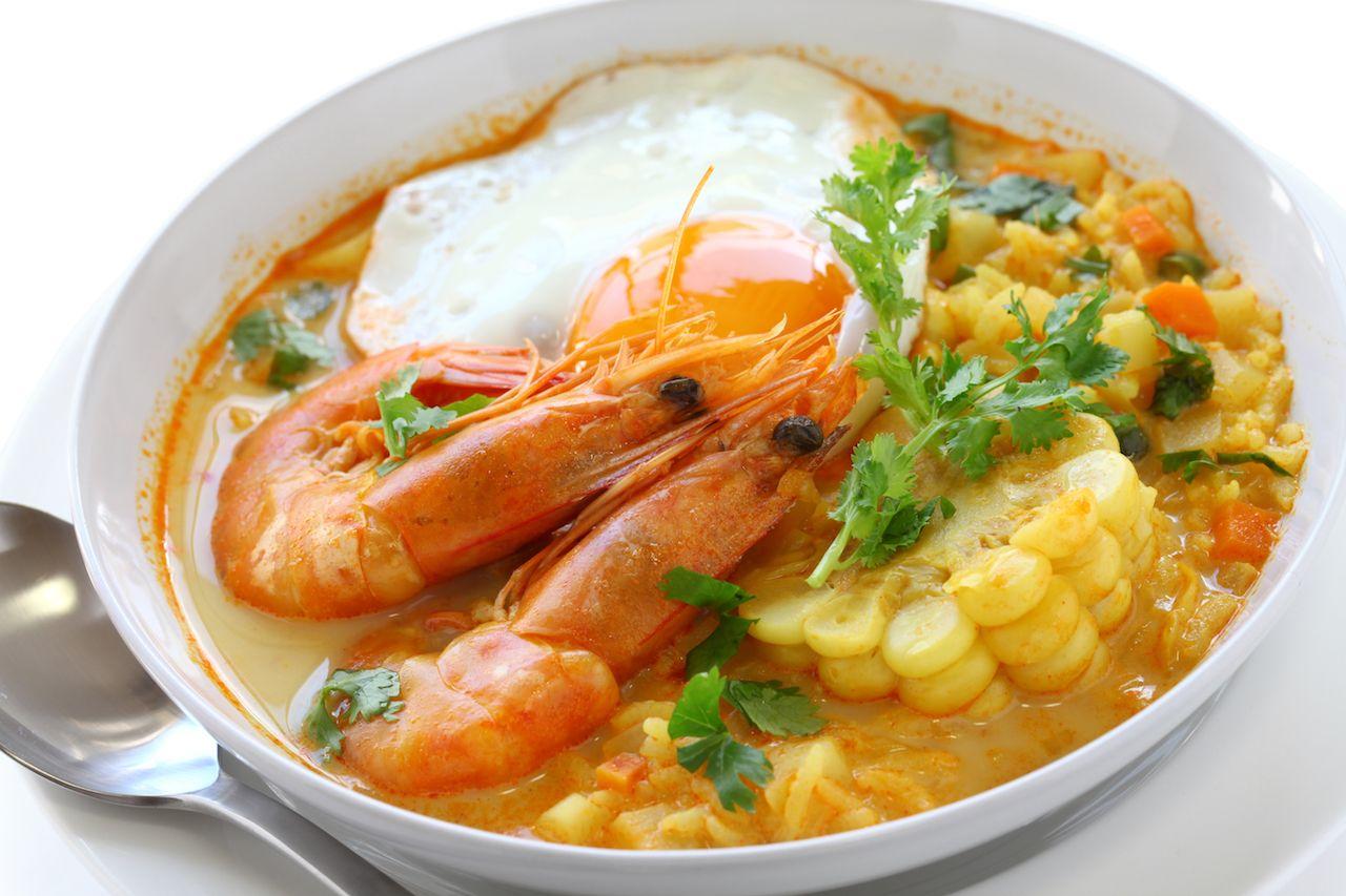 Camarones skull, Peruvian shrimp chowder