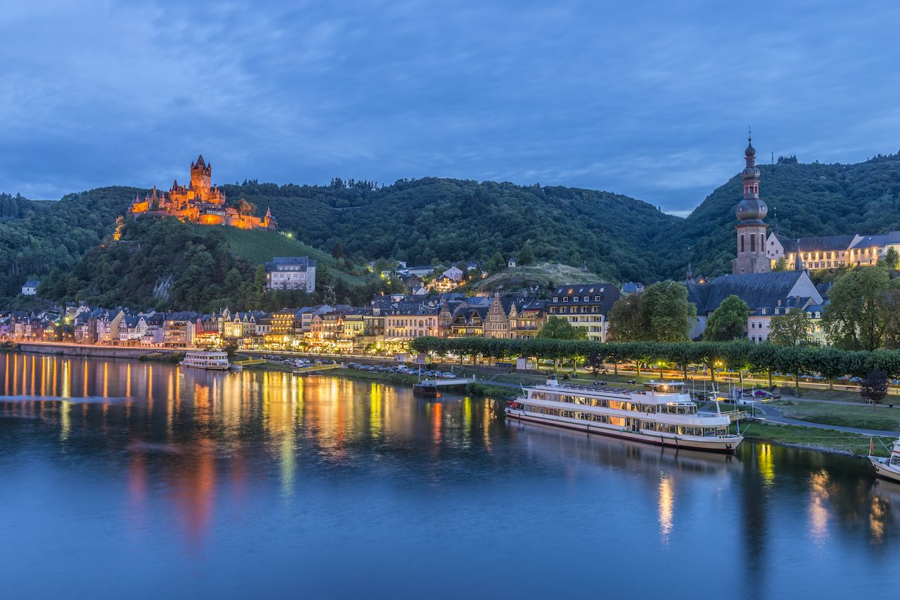 Cochem, Mosel River, Germany at dusk