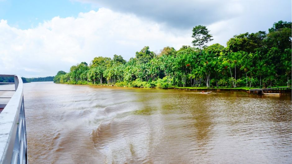 Crossing the Amazon River by ferry