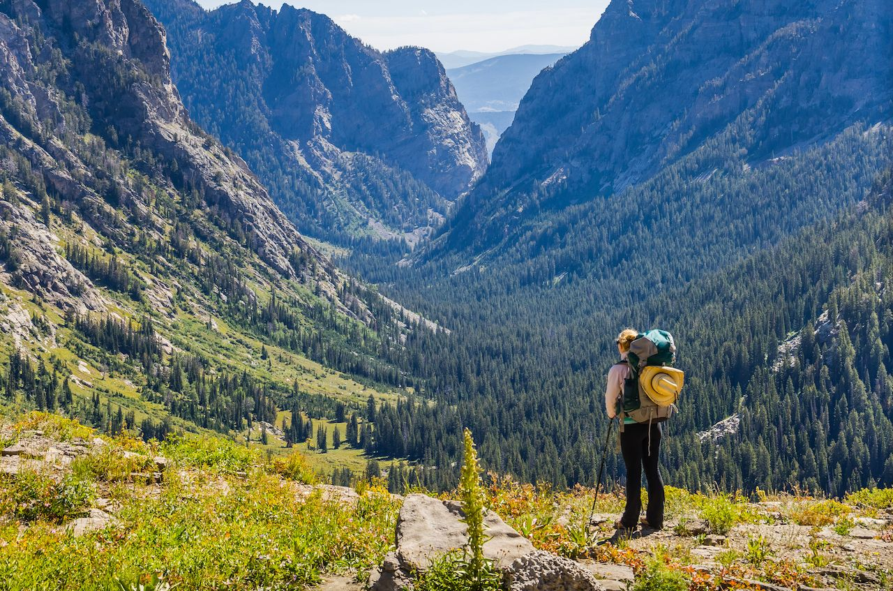 Female backpacker overlooking mountain valley in Grand Teton