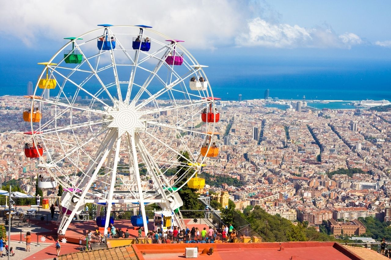 Ferris wheel in Tibidabo with panoramic view over Barcelona