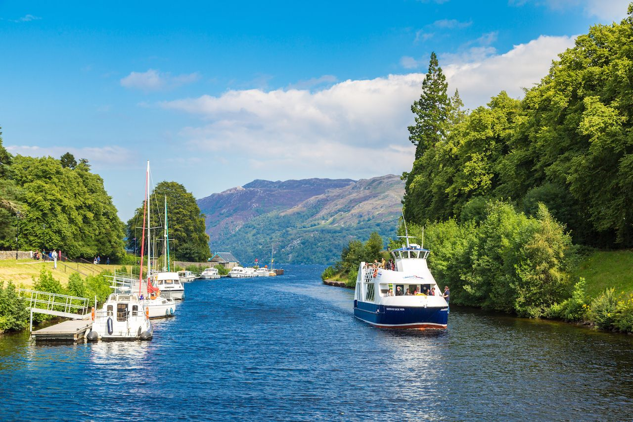 Fort Augustus and Loch Ness Lake in Scotland