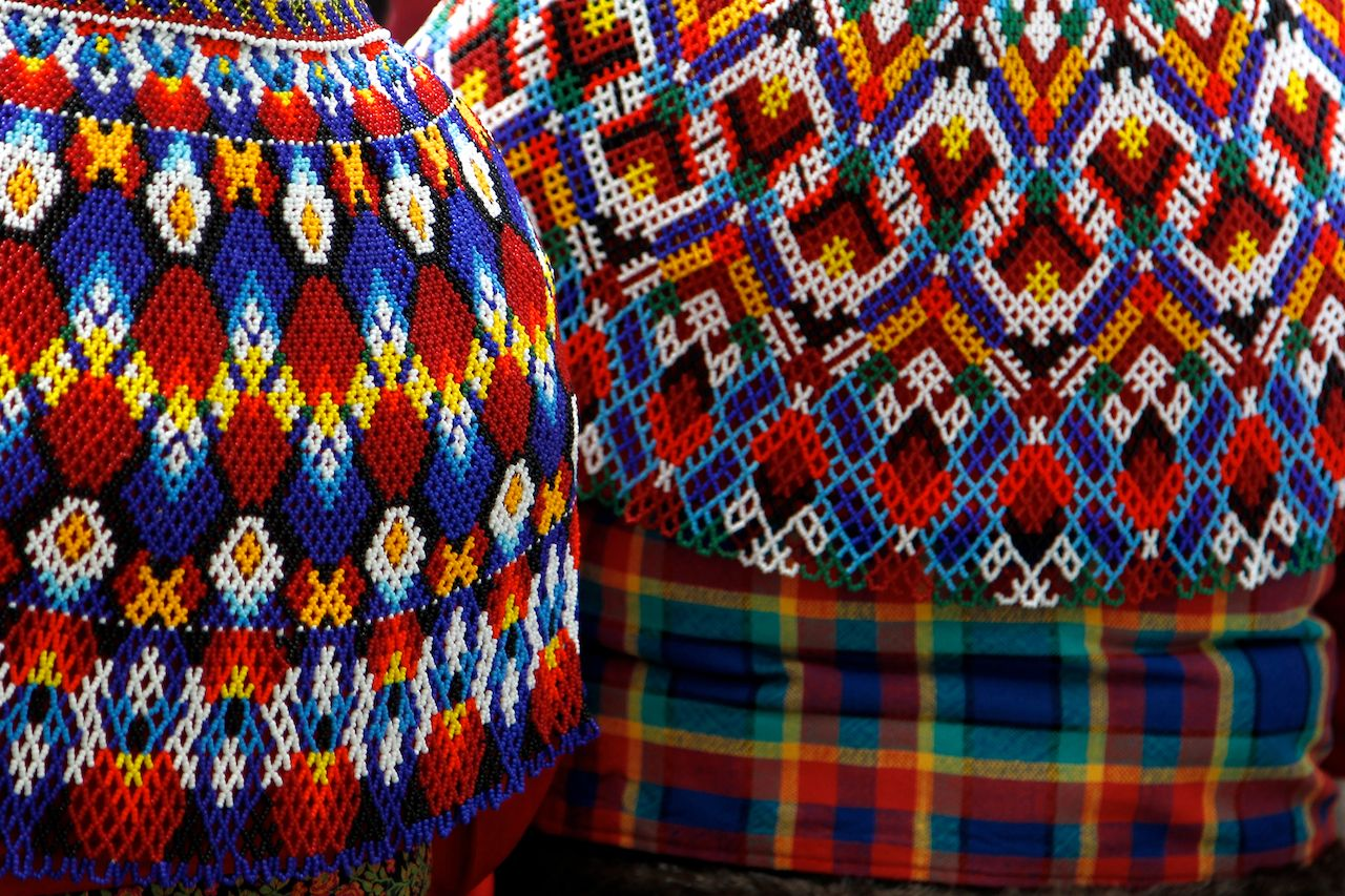Greenland traditional dress colorful, patterned fabric