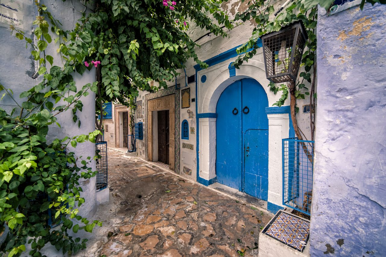 Hammamet Medina streets with blue walls. Tunis, North Africa