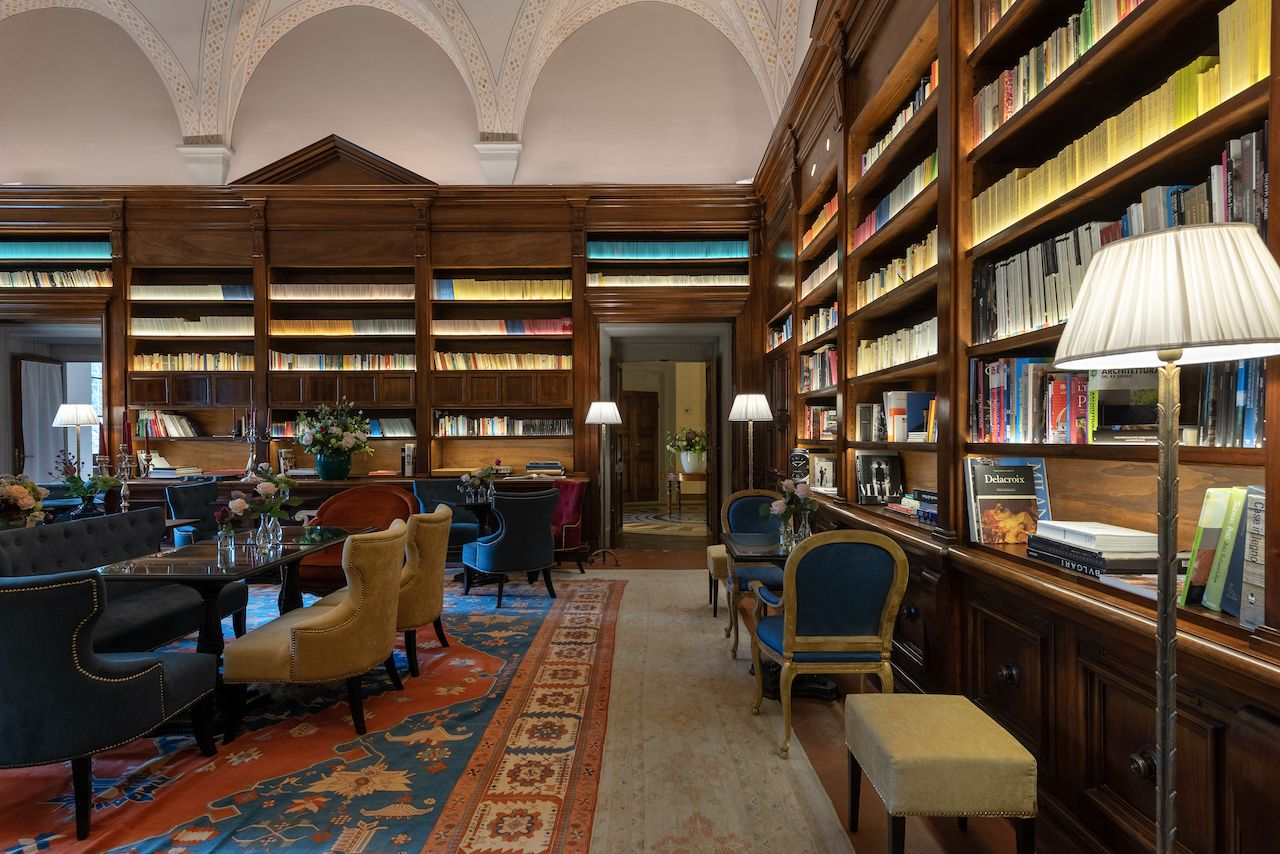 Il Salviatino hotel library in Florence, Italy