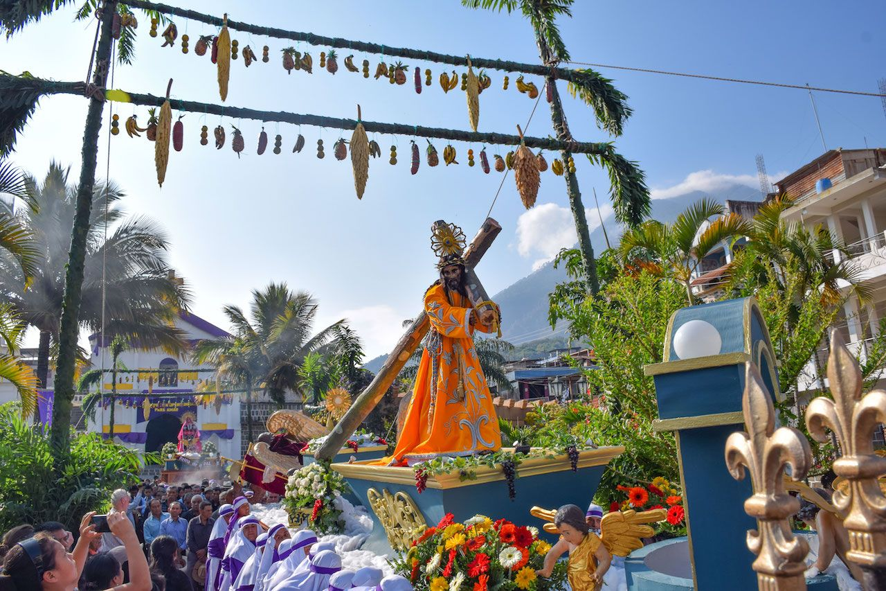 Jesus being paraded during Easter fest in Guatemala
