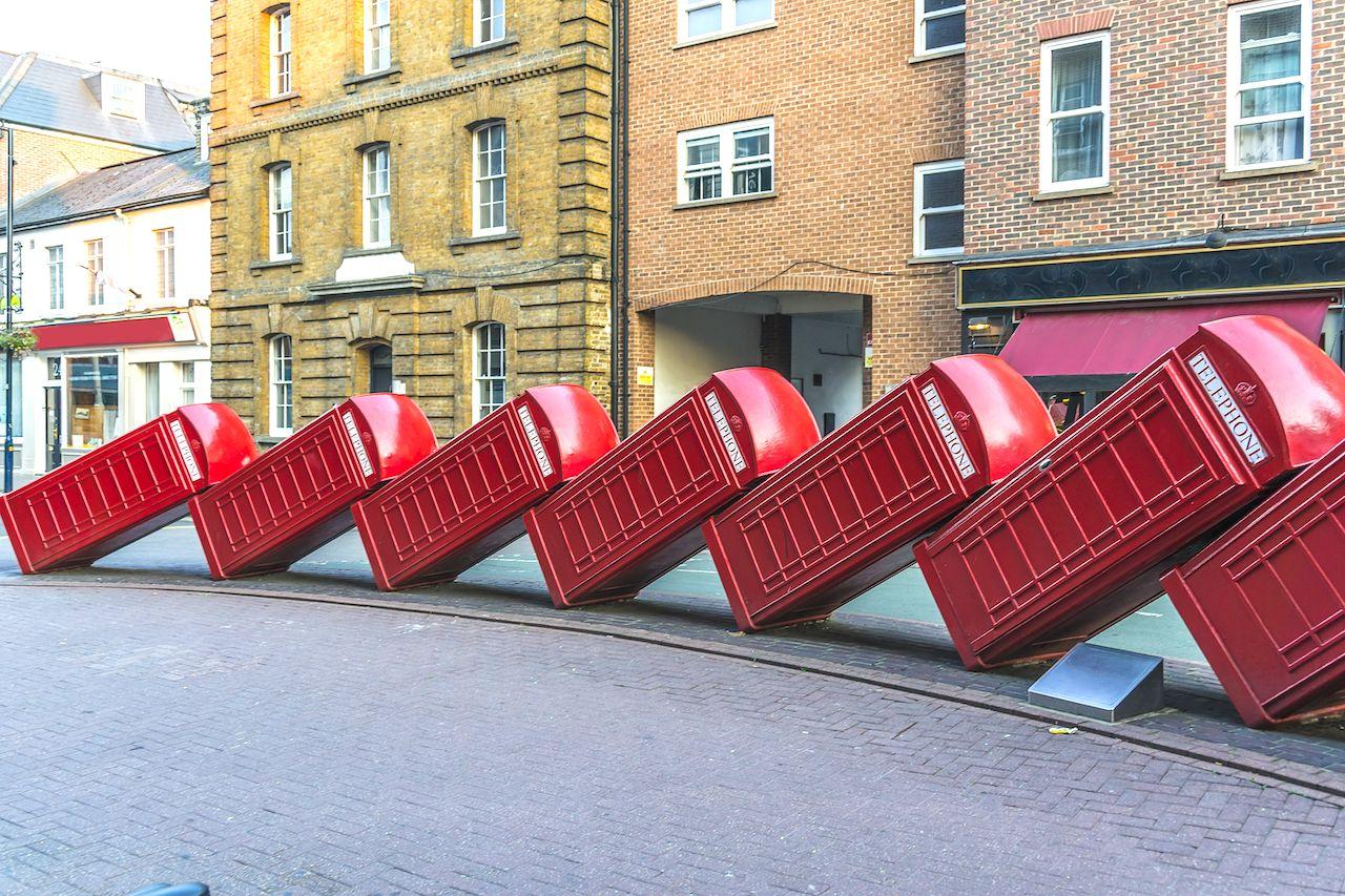 London's phone booths sculpture