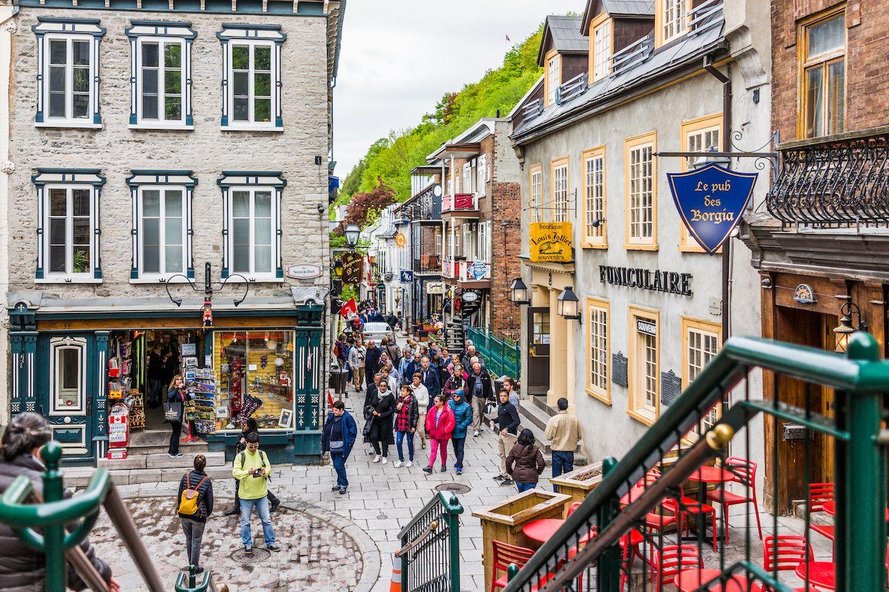 Lower old town street called Rue du Petit Champlain