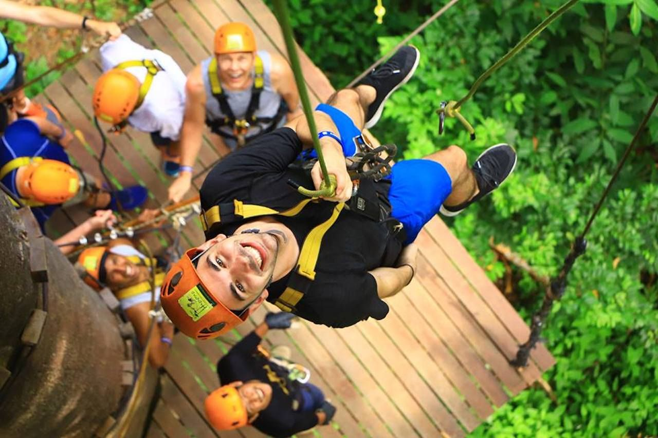 Man in a harness in a jungle ropes course
