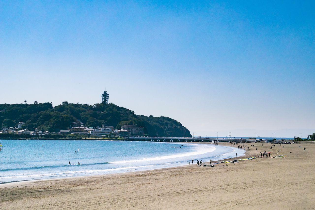 Marine Sports at Enoshima Katase Beach in Shonan Area, Kamakura City, Kanagawa Prefecture, Japan