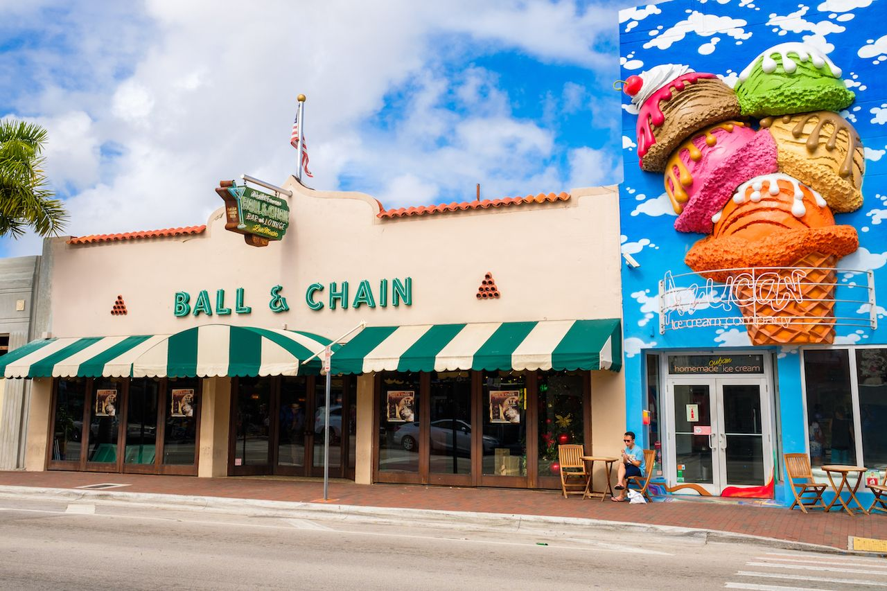 Miami's historic Eight Street area with colorful store fronts