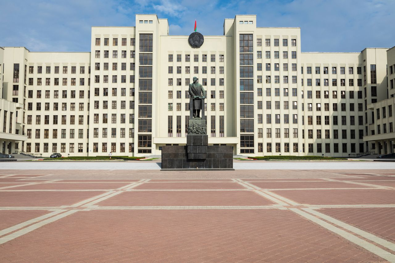 Monument of Lenin near Government House of Republic of Belarus in Minsk