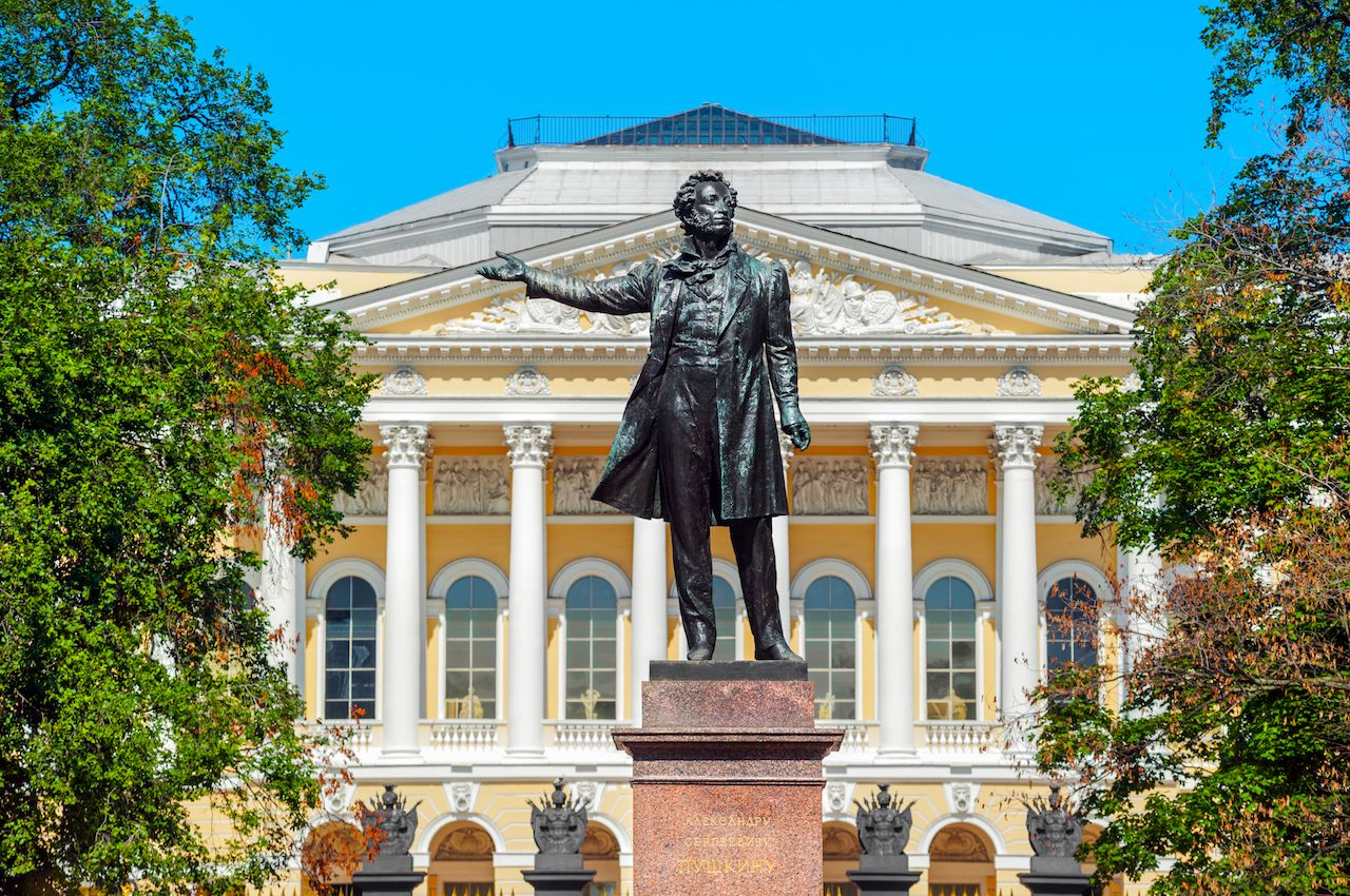 Monument to the Great Russian Alexander Pushkin on Arts Square, St Petersburg, Russia