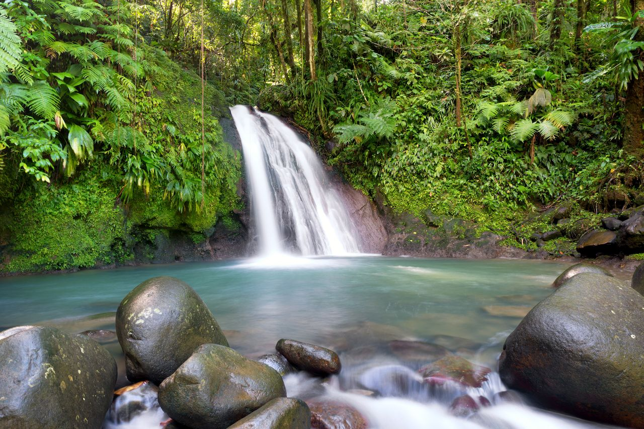Most famous waterfall in Guadeloupe