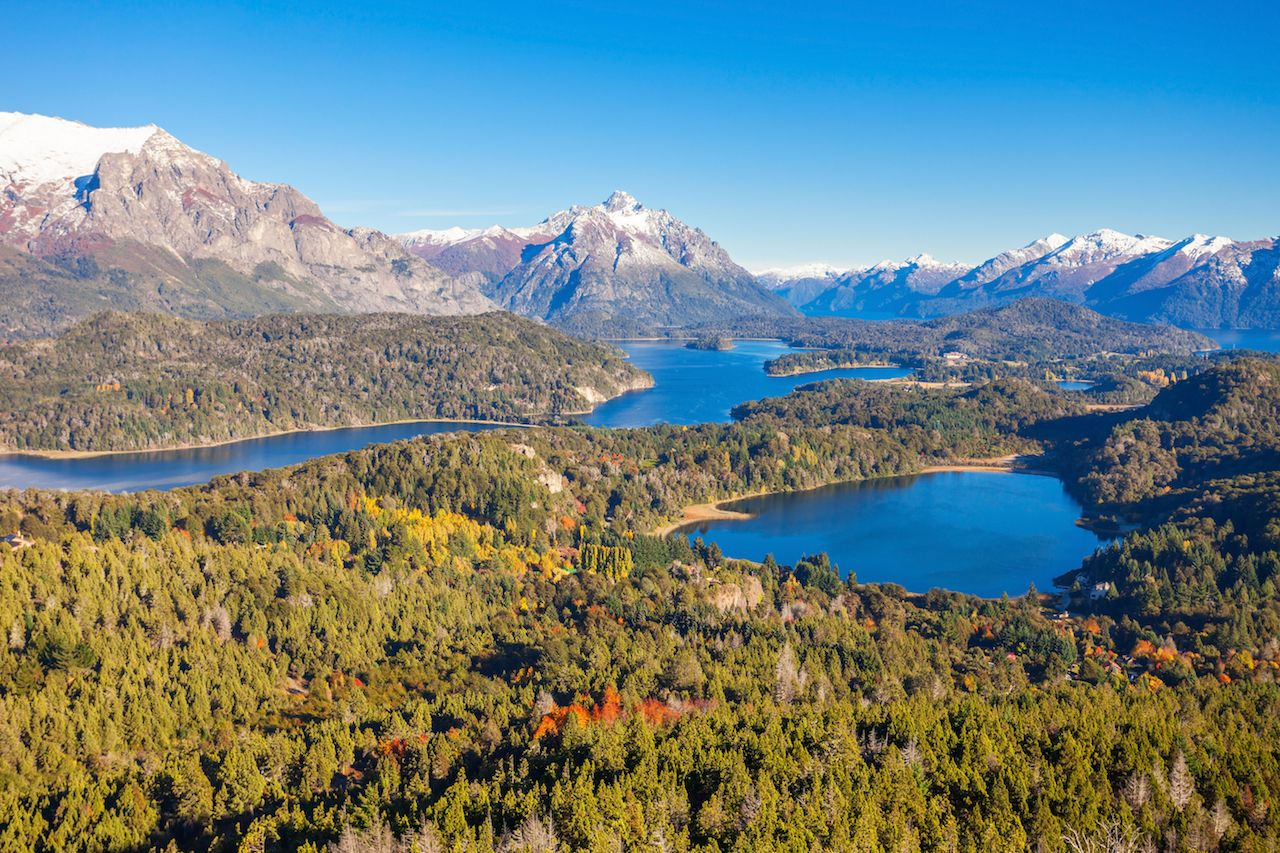 Nahuel Huapi National Park panoramic view from Cerro Campanario viewpoint in Bariloche, Patagonia